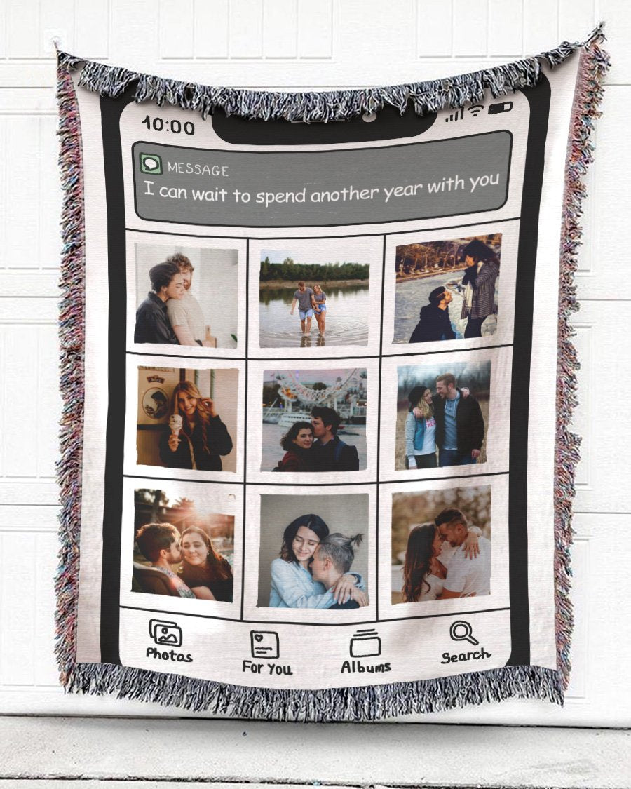 Foal14 Personalized Woven Blanket For Partners Anniversary Blanket, Iphone Screen - Another Year With You, With Custom Photo