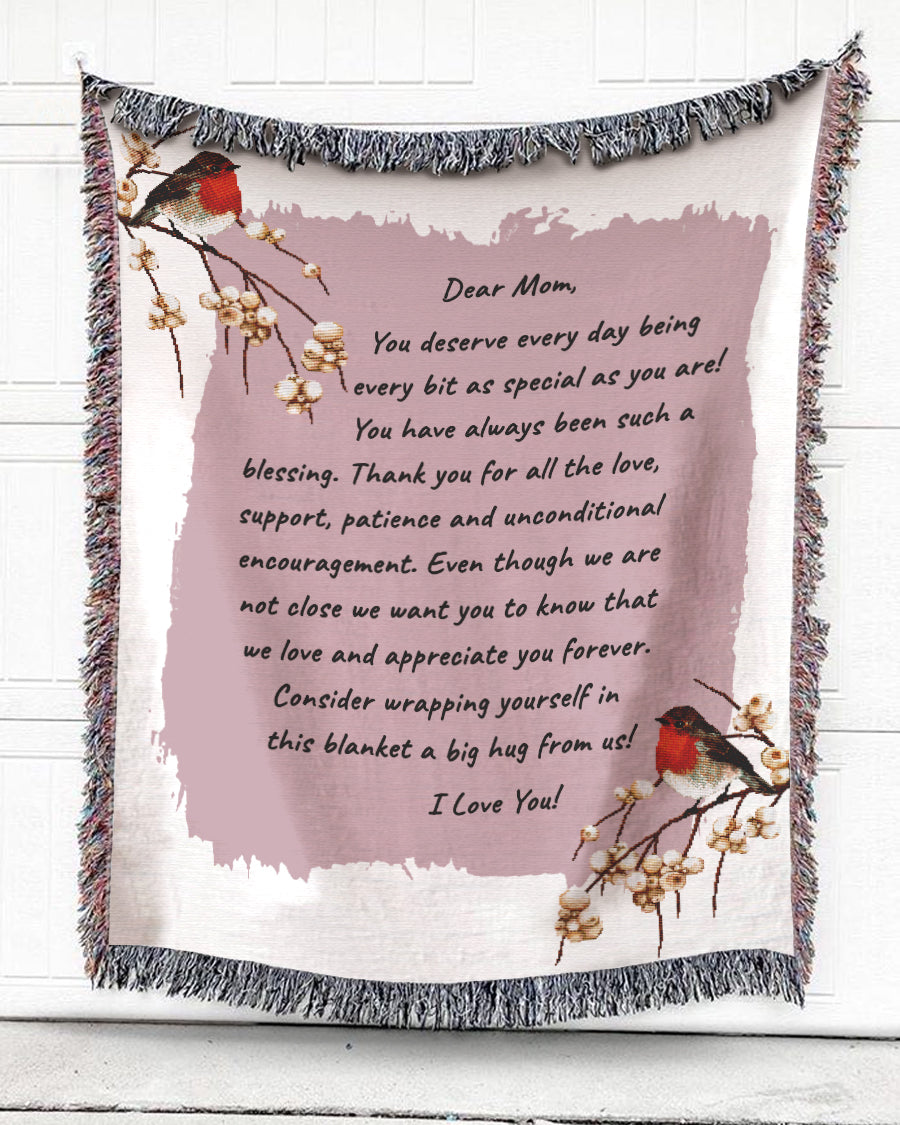 Foal14 Personalized Woven Blanket For Mother Mother's Day Gift, American Robin Birds - The Love I Feel For Mom (Pink), With Personalized Text