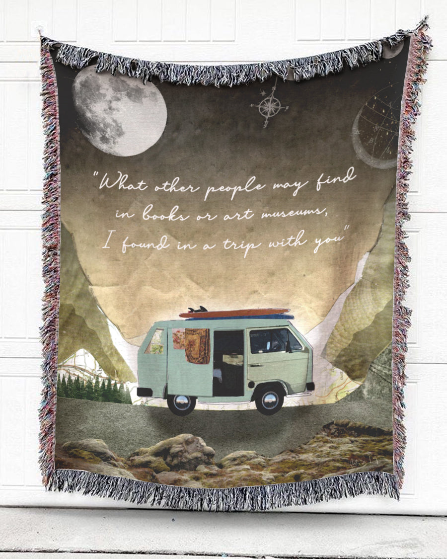 Foal14 Woven Throw For Partner Traveling Gift, Camping Car - I Found In A Trip With You, Cotton Blanket