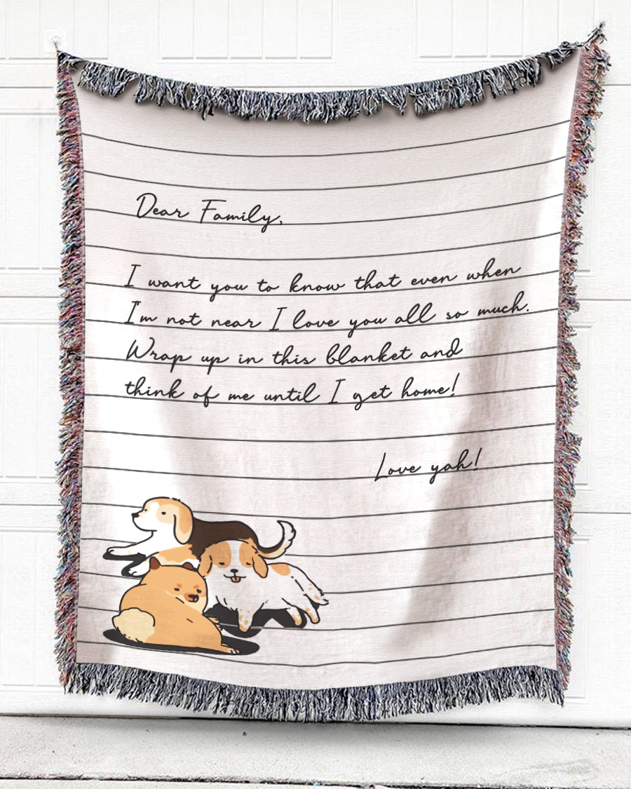 Foal14 Personalized Woven Blanket For Family Christmas Gift, Dog Notebook - Dear Family, With Personalized Text