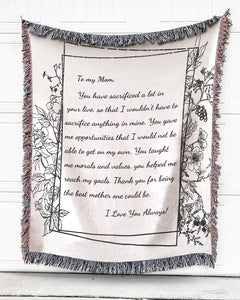 Foal14 Personalized Woven Blanket For Her Birthday Gift, Flowers Note Blanket, With Personalized Text