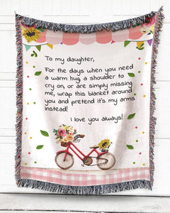Foal14 Personalized Woven Blanket For Daughter Birthday Gift, Flowers On A Bike  - To My Daughter, With Personalized Text