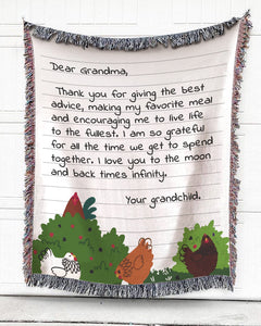 Foal14 Personalized Woven Blanket For Grandmother Birthday Gift, Chickens - Dear Grandma, With Personalized Text
