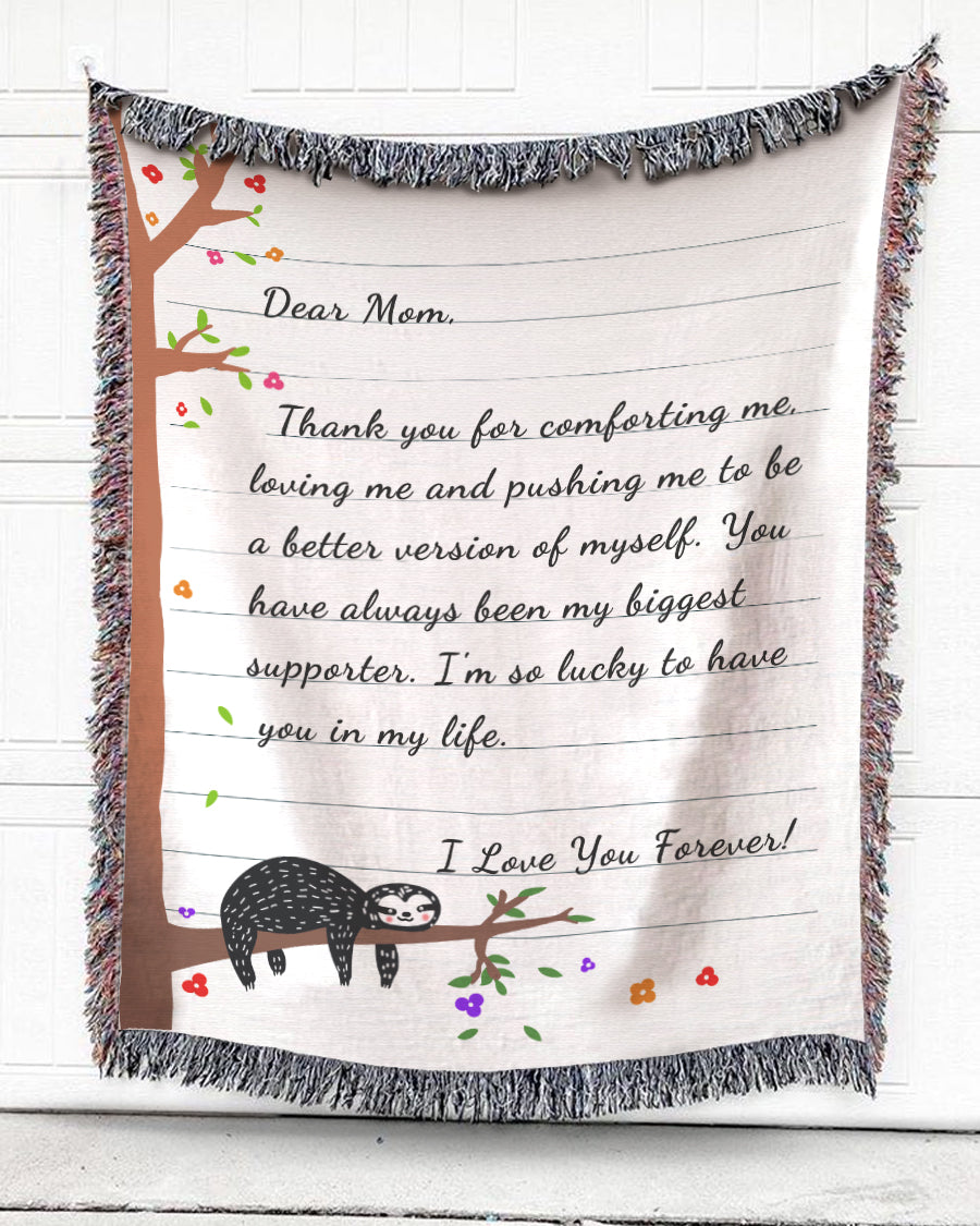Foal14 Personalized Woven Blanket For Mother Birthday Gift, Sloths - Dear Mom, With Personalized Text