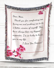 Load image into Gallery viewer, Foal14 Personalized Woven Blanket For Mother Mother's Day Gift, Cherry Blossom - Dear Mom, With Personalized Text