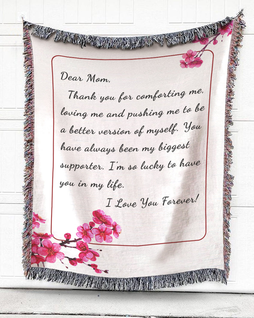 Foal14 Personalized Woven Blanket For Mother Mother's Day Gift, Cherry Blossom - Dear Mom, With Personalized Text