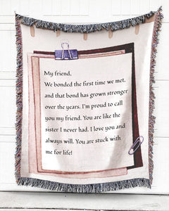 Foal14 Personalized Woven Blanket For Friends Birthday Gift, Paper Design - My Friend, With Personalized Text