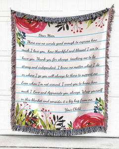 Foal14 Personalized Woven Blanket For Mother Mother's Day Gift, Dear Mom - Flower Note, With Personalized Text