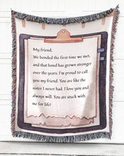 Load image into Gallery viewer, Foal14 Personalized Woven Blanket For Friends Birthday Gift, Paper Design - My Friend, With Personalized Text