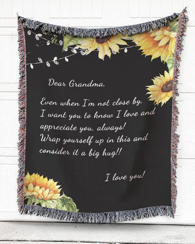Foal14 Personalized Woven Blanket For Grandmother Mother's Day Gift, Sunflowers With No Lines - Dear Grandma, With Personalized Text