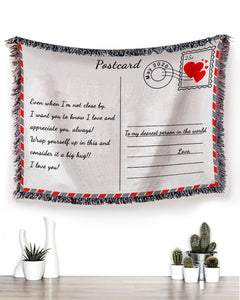 FOAL14 Personalized Woven Blanket For Beloved One Birthday Gift, Postcard Note, With Personalized Text