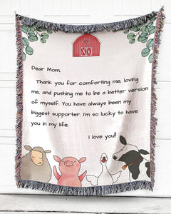 Foal14 Personalized Woven Blanket For Mother Mother's Day Gift, Poultry And Cattle On Farm - Dear Mom, With Personalized Text