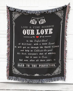 Foal14 Woven Throw For Husband And Wife Anniversary Gift, Our Love Like Fine Bourbon, Cotton Blanket