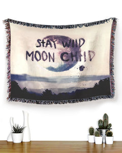 Foal14 Bohemian Woven Throw Dorm Decor Home Decor, The Moon - Stay Wild, Cotton Blanket