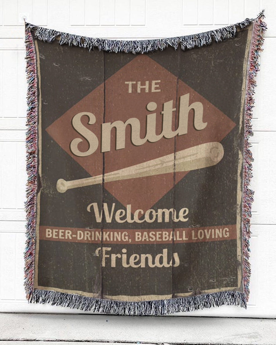 Foal14 Personalized Woven Blanket For Friends Welcome Gift, The Bat - Welcome Friends, With Personalized Name