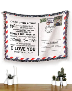 Foal14 Personalized Woven Blanket For Husband Anniversary Gift, Postcard Note, To My Husband, With Personalized Photo And Name