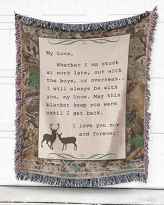 Foal14 Woven Throw For Wife Anniversary Gift, Deer My Love, Cotton Blanket
