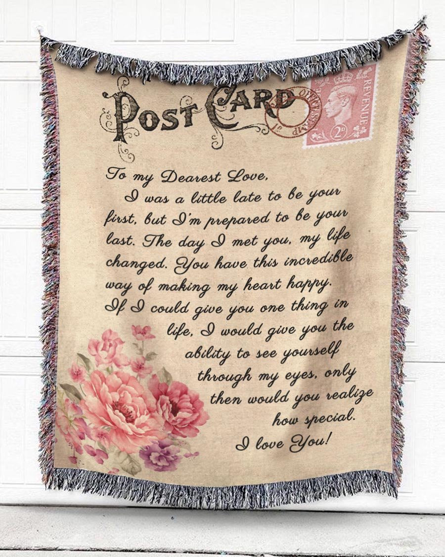 Foal14 Woven Throw For Wife Anniversary Gift, Postcard Of Love, Cotton Blanket
