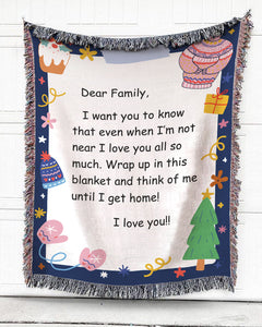 Foal14 Personalized Woven Blanket For Family Christmas Gift, Christmas Writing Paper - Dear Family, With Personalized Text