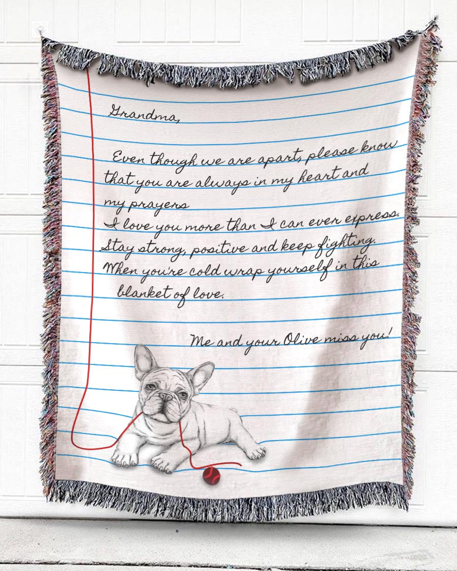 Foal14 Personalized Woven Blanket For Grandmother Birthday Gift, Pug - Message For Grandma, With Personalized Text