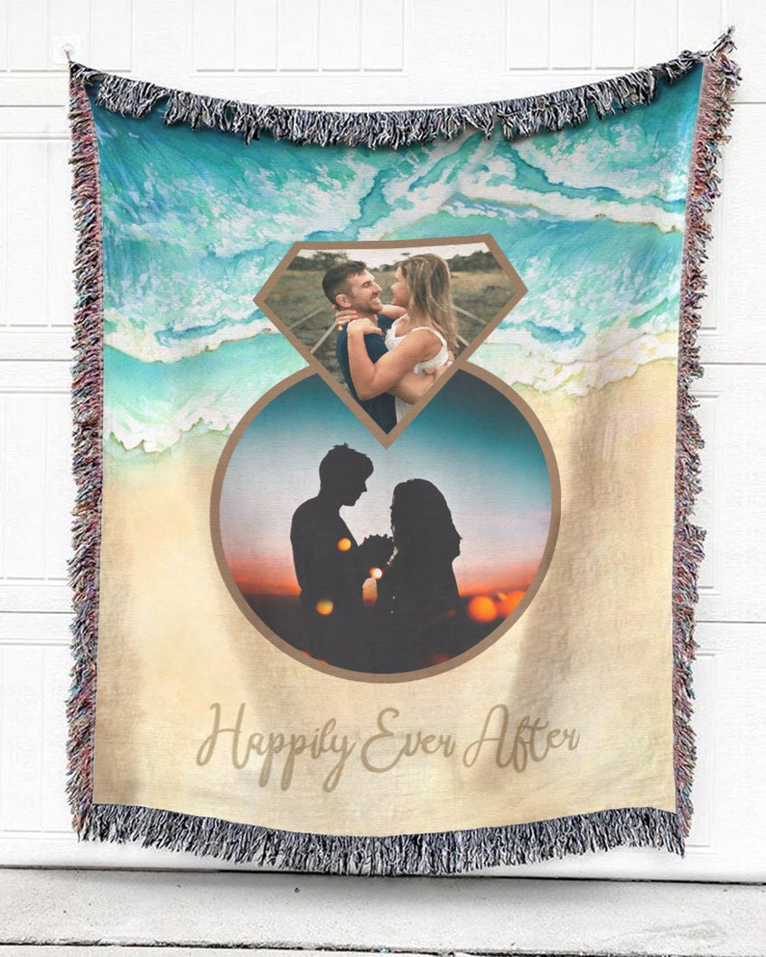 Foal14 Personalized Woven Blanket For Newlyweds Wedding Gift, Diamond Ring On The Sea, With Custom Photo