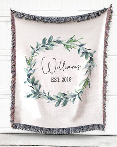 Foal14 Personalized Woven Blanket For Newlyweds Wedding Gift, Wreath Of Wedding, With Personalized Name