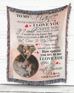 Foal14 Personalized Woven Blanket For Husband And Wife Anniversary Gift, To My Fiancé, With Custom Photo