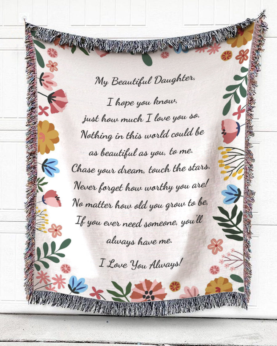 Foal14 Personalized Woven Blanket For Daughter Birthday Gift, Colorful Tiny Flowers  - My Beautiful Daughter, With Personalized Text