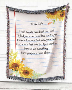 Foal14 Personalized Woven Blanket For Wife Anniversary Gift, Sunflower, With Personalized Text