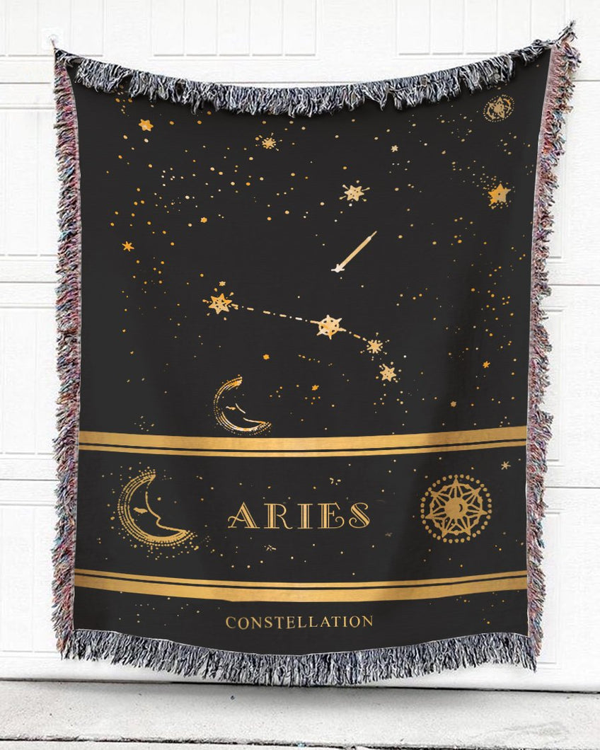 Foal14 Woven Throw For Kids Birthday Gift, Zodiac Constellations, Cotton Blanket