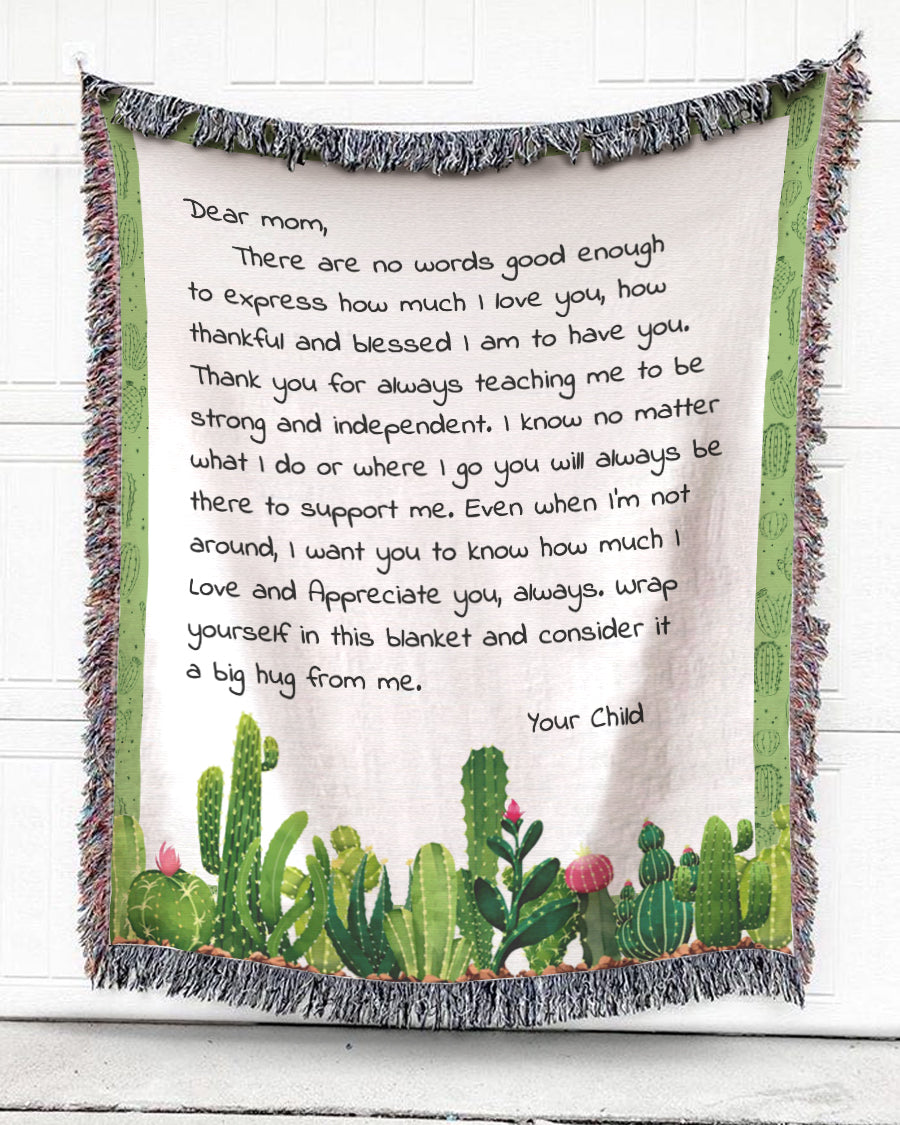 Foal14 Personalized Woven Blanket For Mother Mother's Day Gift, Cacti - Dear Mom, With Personalized Text