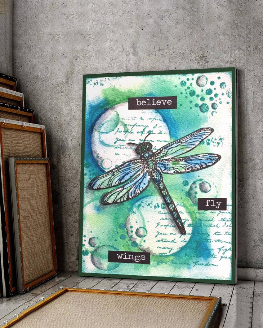 FOAL14 Canvas For Animal Lovers Christmas Gift, Dragonfly - Believe, Fly And Wings, Home Decor
