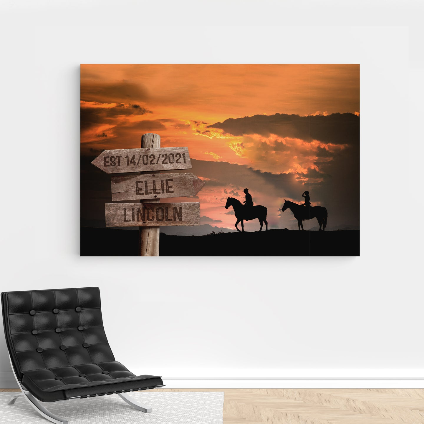 Foal14 Personalized Canvas For Partner Anniversay Gift, Couple And Landscapes, With Personalized Names