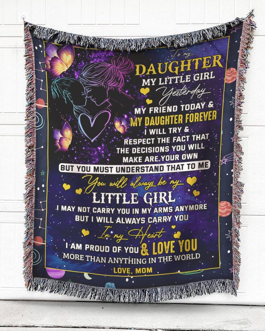 FOAL14 Woven Throw For Daughter Birthday Gift, Butterflies In Galaxy - My Daughter Forever, Cotton Blanket
