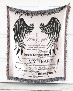 Foal14 Memorial Woven Throw Remembrance Gift, Wings - I Miss My Angel Husband, Cotton Blanket