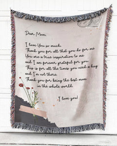 Foal14 Personalized Woven Blanket For Mother Christmas Gift, Flowers On Postcard - Dear Mom, With Personalized Text
