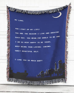 Foal14 Personalized Woven Blanket For Partner Anniversary Gift, Night Sky - My Love, With Personalized Text