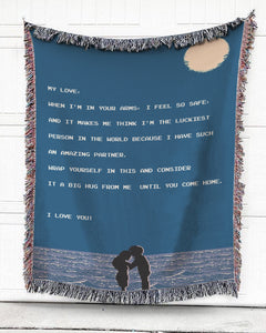 Foal14 Personalized Woven Blanket For Partner Anniversary Gift, Night Sky On The Beach - My Love, With Personalized Text