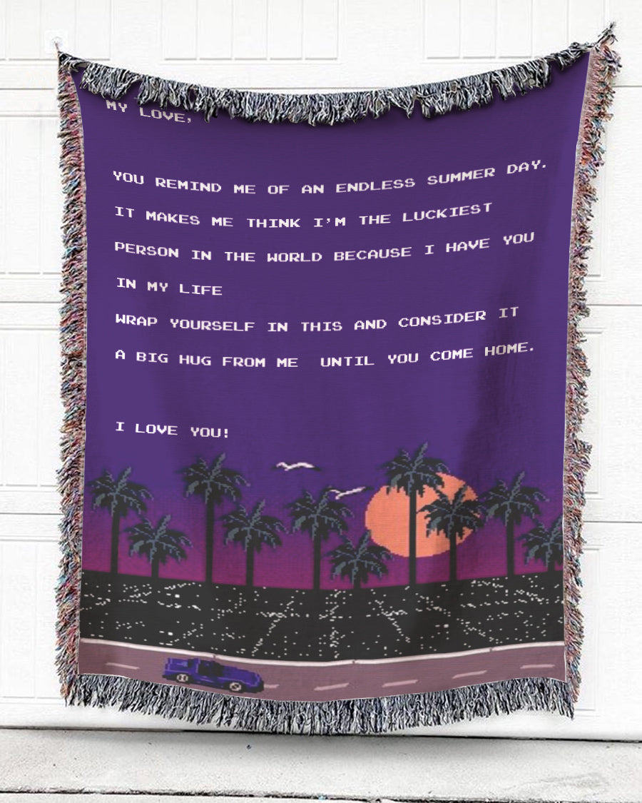 Foal14 Personalized Woven Blanket For Partner Anniversary Gift, The Road At Night - My Love, With Personalized Text