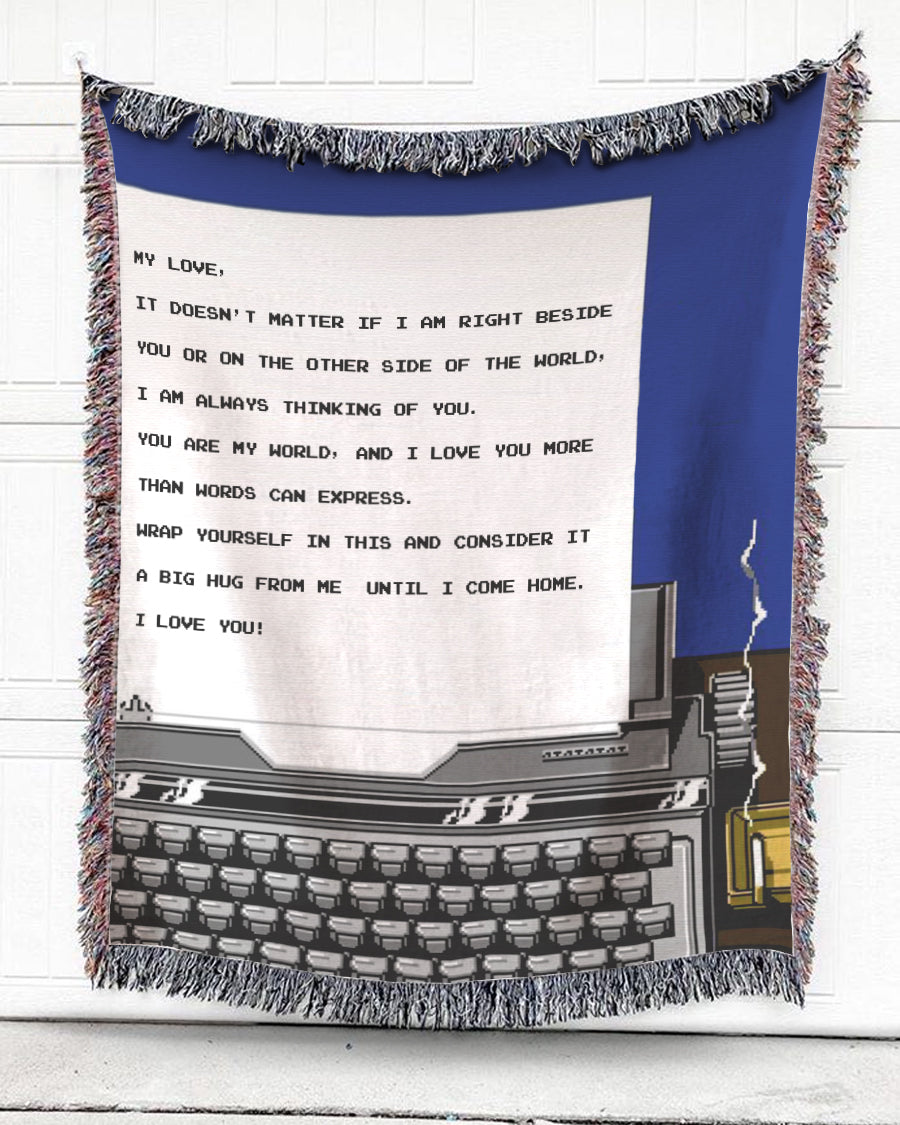 Foal14 Personalized Woven Blanket For Partner Anniversary Gift, Typewriter - My Love, With Personalized Text