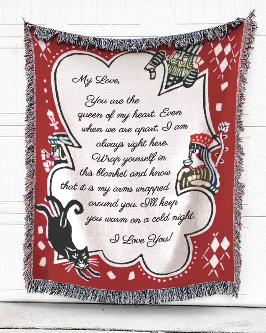 Foal14 Personalized Woven Blanket Valentine Gift, Playing Card - To My Love, With Personalized Text