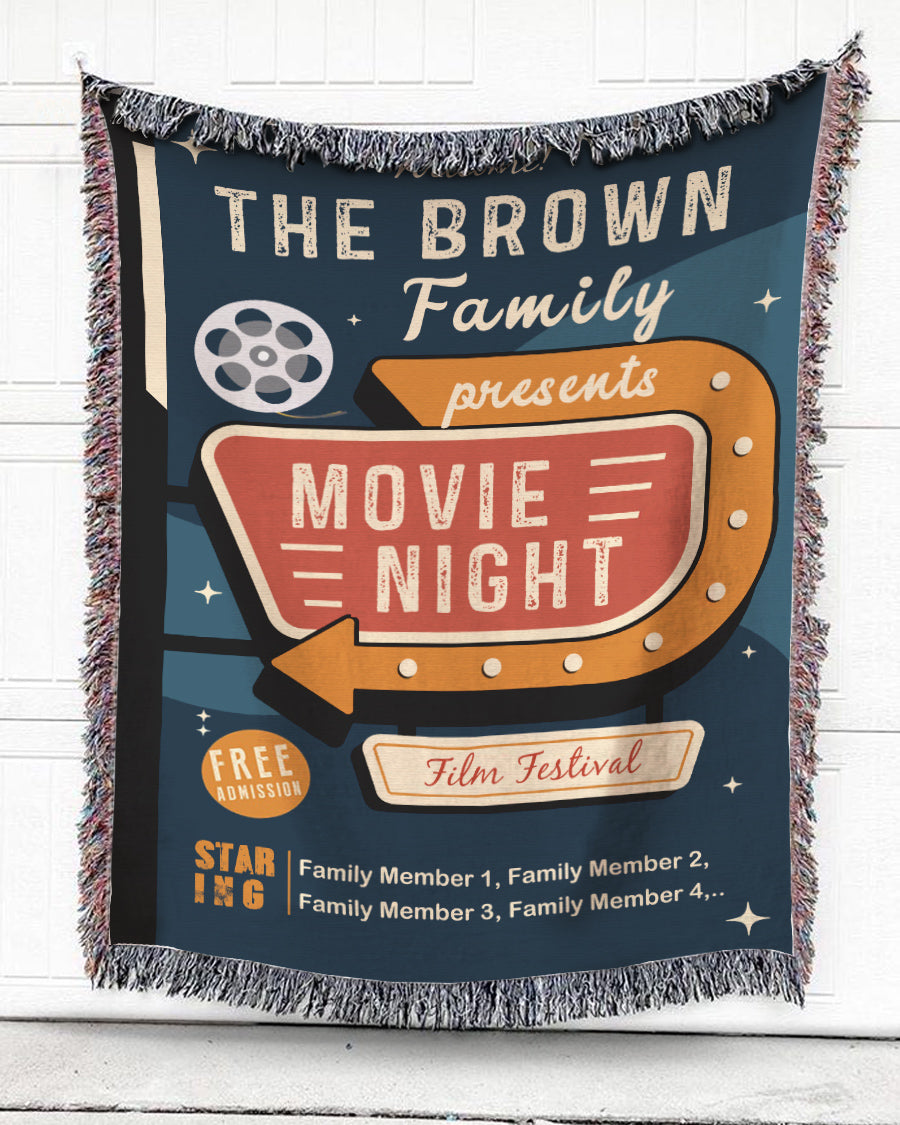 Foal14 Personalized Woven Blanket For Family, Film Festival - The Family's Movie Night, With Personalized Text
