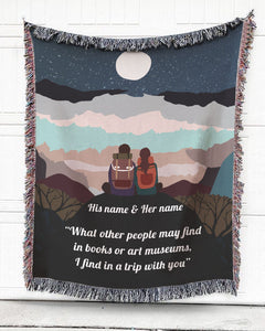 Foal14 Personalized Woven Blanket For Partner Anniversary Gift, Couple Camping - Trip With You, With Personalized Text