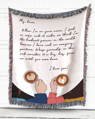 Foal14 Personalized Woven Blanket For Partner Anniversary Gift, Coffee With My Love, With Personalized Text