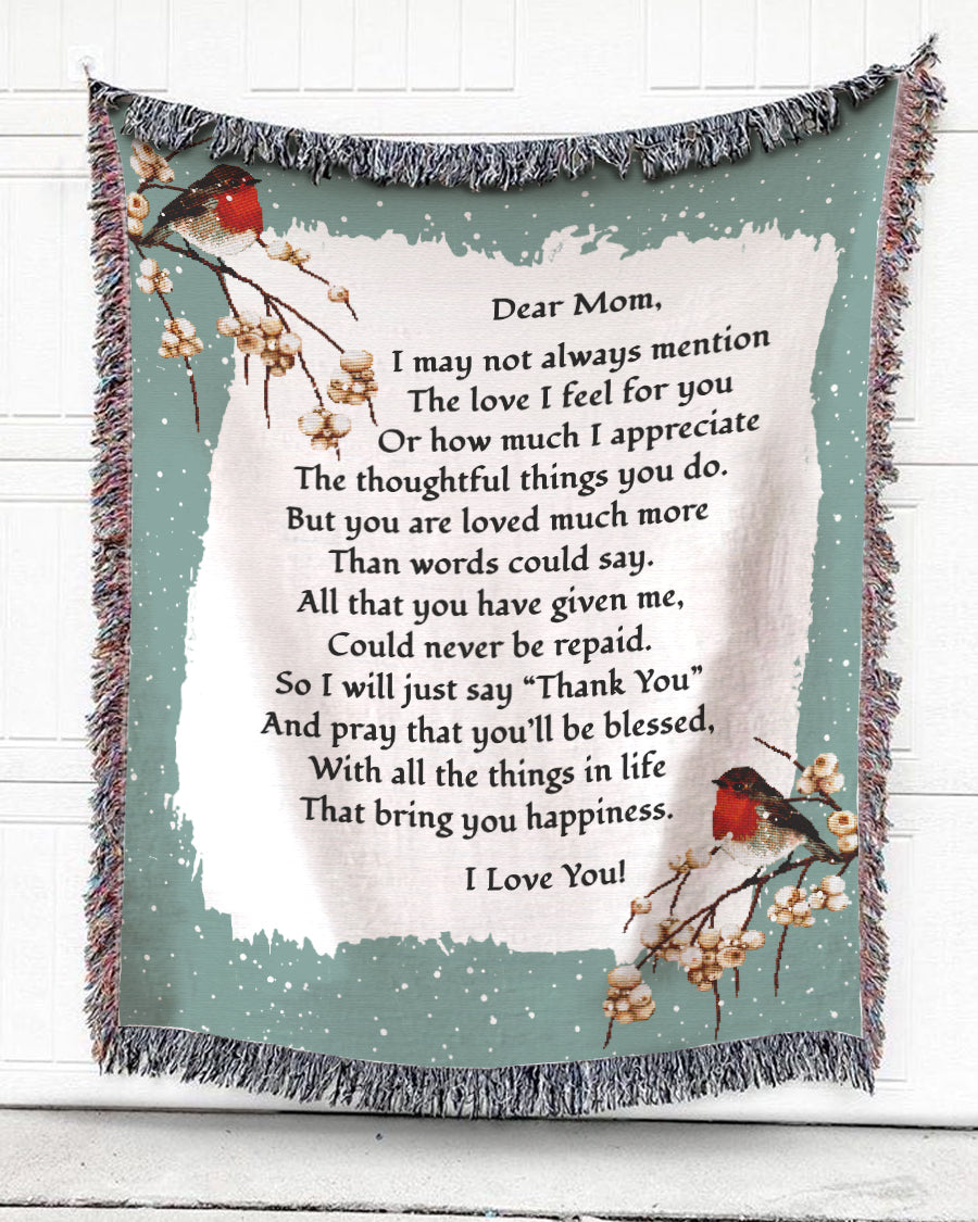 Foal14 Personalized Woven Blanket For Mother Birthday Gift, American Robin Birds - The Love I Feel For Mom (Green), With Personalized Text