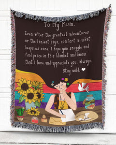 Foal14 Personalized Blanket For Mother Mother's Day Gift, Sunflower And Long Hair - To My Mum, With Personalized Text