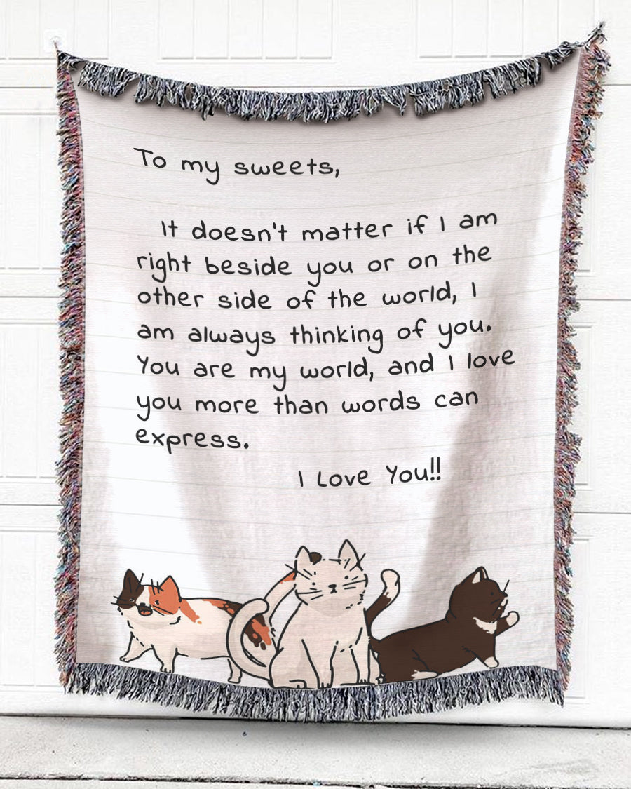 FOAL14 Personalized Woven Blanket For Family Home Decor, Cats - To My Sweets, With Personalized Text