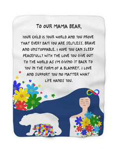 Foal14 Personalized Fleece Throw Mother's Day Gift, Flowers And Mama Bear, Sherpa Blanket
