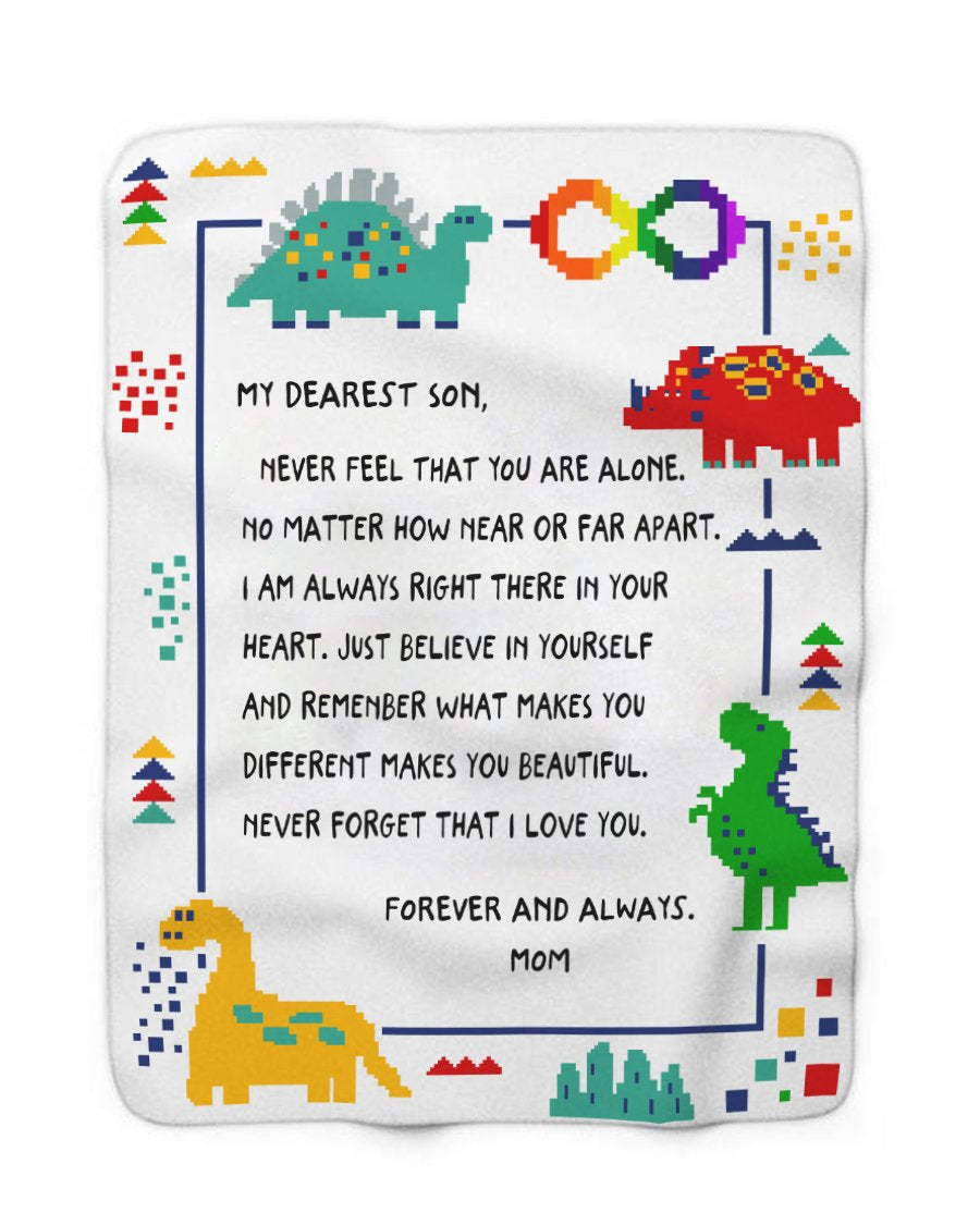 Foal14 Personalized Sherpa Blanket For Son Birthday Gift, Dinosaurs - From Mom To Dearest Son, With Personalized Text