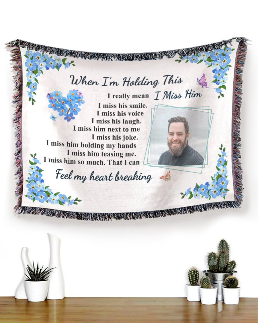 Foal14 Personalized Memorial Woven Blanket Remembrance Gift, Missing Him Forget Me Not Flower, With Custom Photo